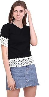 FreshTrend Plain Black Half Sleeve Cotton Round Neck Tshirt for Women