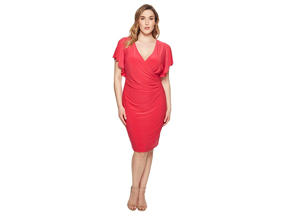 LAUREN Ralph Lauren Plus Size Kahlo Matte Jersey Dress (Pink Poppy) Women