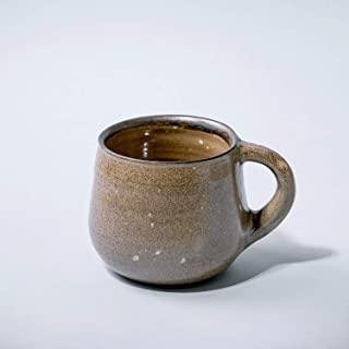 Taza de cerámica vintage rústica hecha a mano para café, té, leche, decoración del hogar, esmalte marrón con textura