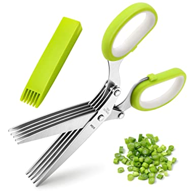 Herb Scissors, X-Chef Multipurpose 5 Blade Kitchen Herb Shears Herb Cutter with Safety Cover and Cleaning Comb for Chopping Basil Chive Parsley, Stainless Steel