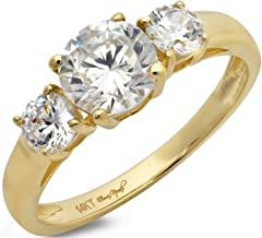 Clara Pucci 1.4 CT Round Cut Solitaire Three Stone Anniversary Promise Ring 14K Yellow Gold Engagement Wedding Band