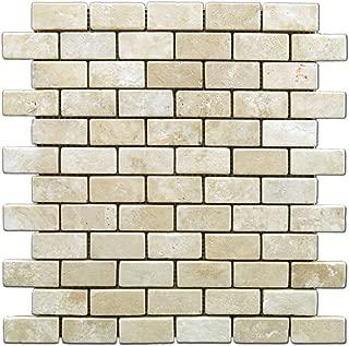 Durango Cream 1 X 2 Tumbled Travertine Brick Mosaic Tile - Box of 5 sq. ft.