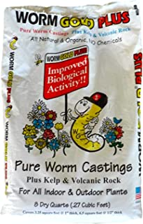 Worm Gold Plus 100% Organic Worm Castings 8qt (Approx 13lbs) Bag Size - Improves Soil Vitality Plant Yields & Roots