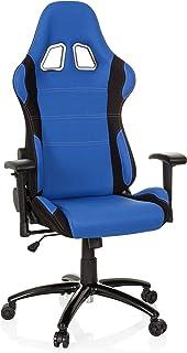 hjh OFFICE 729330 Silla Gaming Game Force Tejido Negro/Azul Silla de Oficina reclinable Silla Escritorio