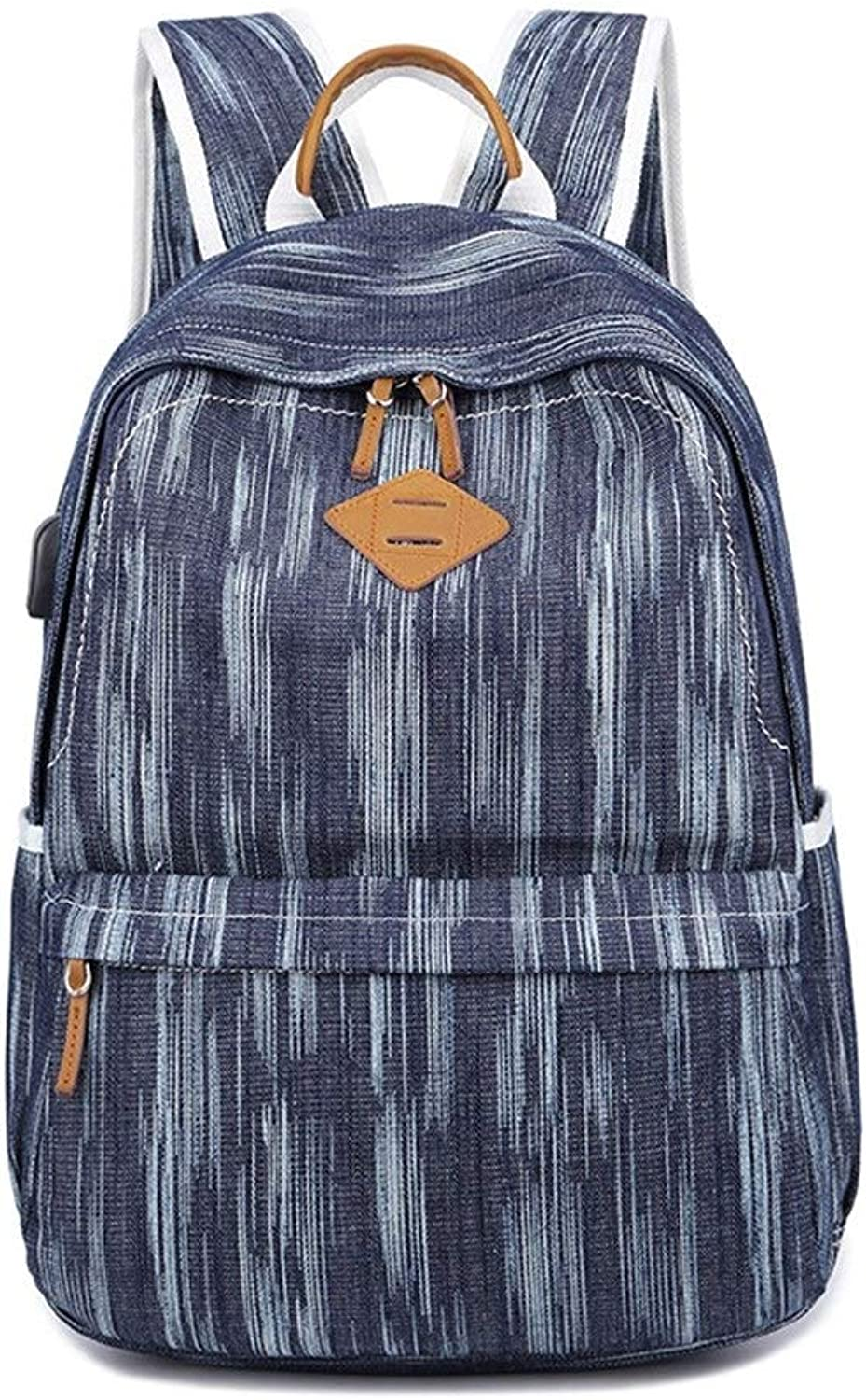 Backpack, USB Backpack Female Student Canvas Backpack Male Leisure Outdoor Travel Computer Bag (color   Dark blueee)