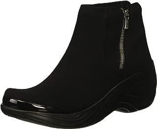BZees Women's Zora Mid Calf Boot, Black Stretch Fabric, 9 W US