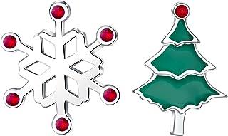 Orecchini pendenti / borchie per ragazze bambini donne, orecchini natalizi piccoli e carini in argento sterling 925, alber...