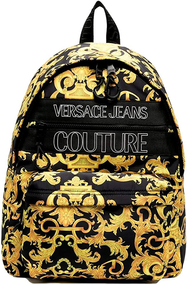 Versace, zaino per uomo, 100% nylon, con tasca frontale aggiuntiva per riporre gli oggetti EE1YWABA1-E71896_EM27