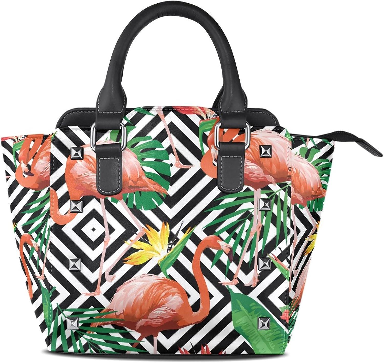 My Little Nest Women's Top Handle Satchel Handbag Flamingo Bird Tropical Flowers Ladies PU Leather Shoulder Bag Crossbody Bag