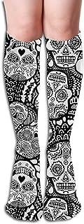 Calaveras de azúcar mexicanas Blancas y negras EXTRA Mujeres Tube Rodilla Muslo Medias altas Calcetines de cosplay 50cm (19.6 pulgadas)