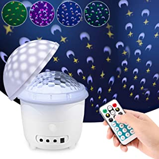Night Light Projector, Remote Control and Timer Design Sound Activated Party Lights 3 Modes and 4 Patterns for Kids Baby Nursery Bedroom Decoration (White)