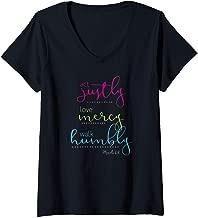 Womens Scripture Tshirt - Act, Love, Walk Christian Shirt Micah 6:8 V-Neck T-Shirt