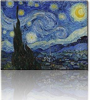 フィンセント・ファン・ゴッホの絵画作品 Vincent Willem van Gogh 星月夜(糸杉と村) The Starry Night アートパネル 印象派油絵 壁掛け絵画 壁飾り ポスター アートプリントポスター Arts モダン絵画 ...