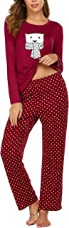 Ekouaer Women's Pajama Set Polka Dots Ptinted Sleepwear Long Sleeve Pajamas Set Pajamas for Women S-XXL