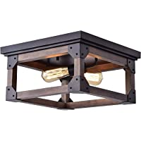 Overstock.com deals on Larissa Wood Industrial Square 2-Light Flush-mount Fixture