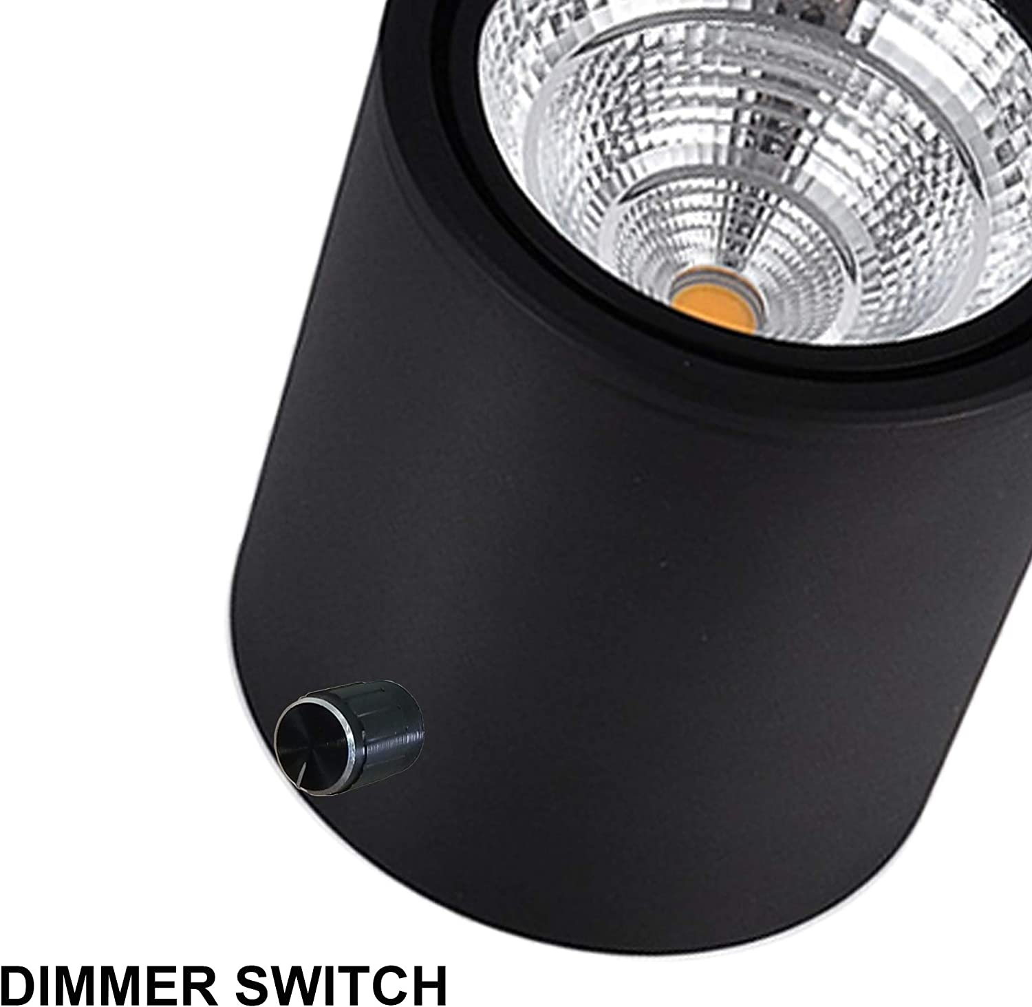 SKIVTGLAMP Dimmable High Accent Uplight 5W COB LED Barrel Type Spotlight Light with 5.9ft On//Off Dimmer Switch Cord Plug in Extra Light Rotating Decorative Light for Stage Background,Black