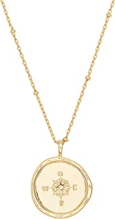 gorjana Women's Compass Coin Pendant Adjustable Necklace, 18K Gold Plated Medallion, 19 inch Chain