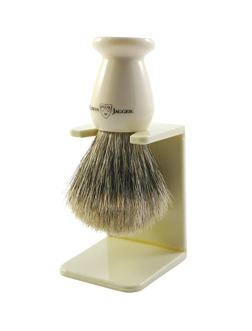 Edwin Jagger 9ej947sds Handmade Imitation Ivory Shaving Brush with Drip Stand, Ivory, Small by Edwin Jagger Limited [並行輸入品]