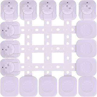 QOZY Baby Safety Locks 8 Pack   Child Proof Latches with 3M Adhesives No Drill   Dual Action Lock with Adjustable Strap   ...