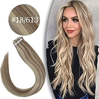 Human Hair Ash Blonde Highlighted with Bleach Blonde Tape in Extensions Two Tone Straight Real Remy Tape in Human Hair Extensions 20pcs 50g 18inch