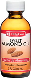 De La Cruz Sweet Almond Oil, No Preservatives or Artificial Colors, Expeller-Pressed, Non-GMO 2 FL OZ