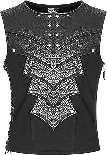 Punk Rave Mens Dieselpunk Armour Waistcoat Vest Top Black Gothic Faux Leather