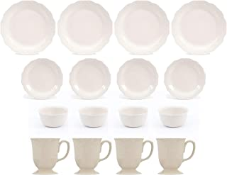 The Pioneer Woman Lace 12-Piece Dinnerware Set, Linen bundle with The Pioneer Woman Cowgirl Lace 4-Piece Mug Set, Linen