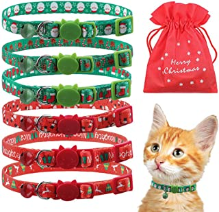 EXPAWLORER 6 PCS Christmas Breakaway Cat Collar with Bell Safety Adjustable Kitten Collars Red and Green