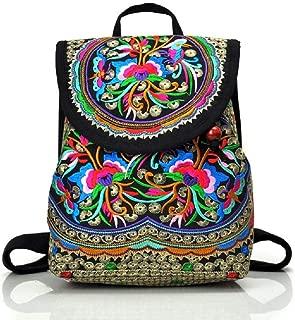 Women Embroidery Ethnic Canvas Backpack Girls Travel Handbag Small Drawstring Casual Shoulder Bag