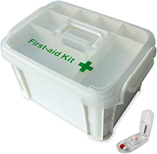 Portable handled medicine first aid box plastic medicine basic organizer holder. Family small safety emergency medical sto...