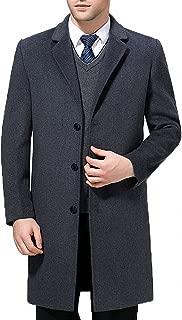 Men's Classical Style Single Breasted Long Dress Coat Wool Long Jacket #00123