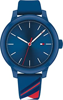 ساعة كوارتز للنساء بسوار من السيلكون من تومي هيلفجر، لون ابيض/احمر وازرق - مقاس 16 (الطراز: 1782232)