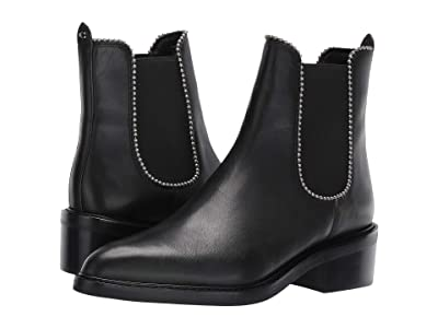 COACH Bowery Beadchain Bootie (Black Leather) Women