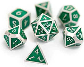 Suburban Sphinx Metal Dice Set - Perfect RPG Dice - 7-Die Set w/Tin and Exclusive Art Insert (Green/Silver)