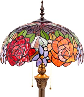 Tiffany Style Floor Standing Lamp 64 Inch Tall Stained Glass Red Rose Design Shade 2 Light Antique Base for Bedroom Living Room Reading Lighting Table Set S001 WERFACTORY