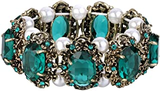 Women's Victorian Style Crystal Simulated Pearl Multi Floral Cameo Inspired Oval Stretch Bracelet