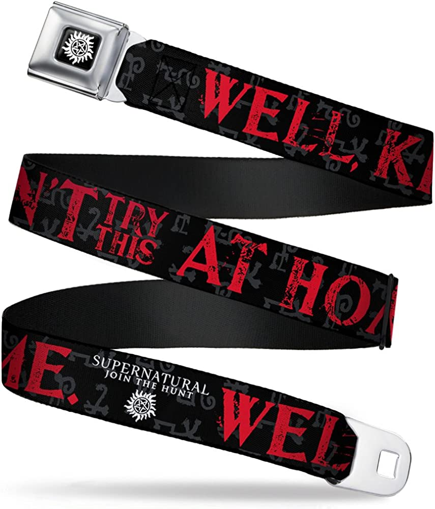 Buckle-Down Seatbelt Belt - SUPERNATURAL WELL, KIDS DON'T TRY THIS AT HOME/Symbols Black/Gray/Red/White - 1.0