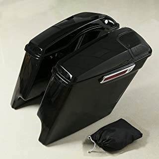 XMT-MOTO 5″ Extended Stretched Saddlebags 5x7 Speaker Lids With Cut Outs fits for Harley Davidson Touring 2014-Later
