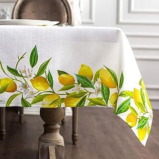 ARTABLE Chemin de table carré et rectangulaire - Motif citron - Décoration d'intérieur et de jardin - Vert et blanc - 140 ...