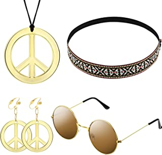 Hippie Costume Set for Women Kit Includes Sunglasses, Peace Sign Necklace and Peace Sign Earring, Bohemia Headband for 60s 70s Party Accessories