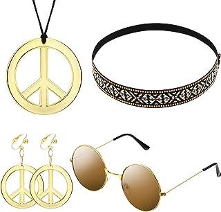 Kit d'Ensemble de Costume Hippie pour Femmes et Hommes Inclure Lunettes de Soleil, Collier Signe de la Paix et Boucle d'Or...