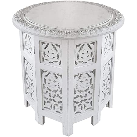 Artesia Wooden Handcrafted Carved Rajasthan Solid Folding White Accent Coffee Table Amazon In Home Kitchen