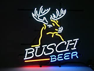 Urby™ Busch Beer Deer Real Glass Neon Light Sign Home Beer Bar Pub Recreation Room Game Room Windows Garage Wall Sign 18''x14'' A11-02