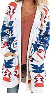 Women's Warm Pattern Print with Pocket Open Front Jumper Long Sleeve Knitted Sweaters Cardigan
