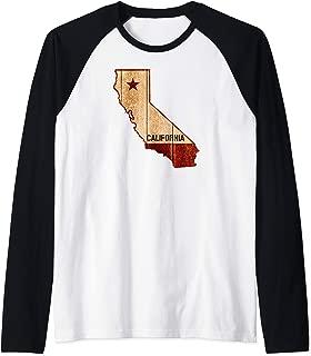 California State Map Grunge Burnished Wood Texture Gift Raglan Baseball Tee