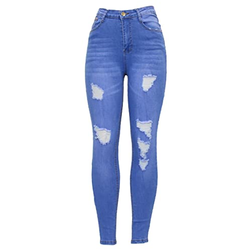 56fe97545d06 Barfly Fashion New Ladies Womens High Waisted White Blue Black Stretchy  Knee Ripped Cut Skinny Slim