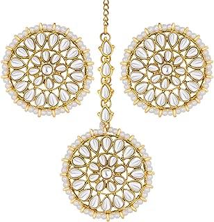 Wedding Wear Faux Kundan Beaded Round Earrings with Maang Tikka Set Ethnic Indian Jewelry for Women