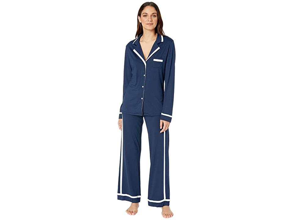 Cosabella Bella Amore Long Sleeve Top Pants PJ Set (Navy Blue/Moon Ivory) Women
