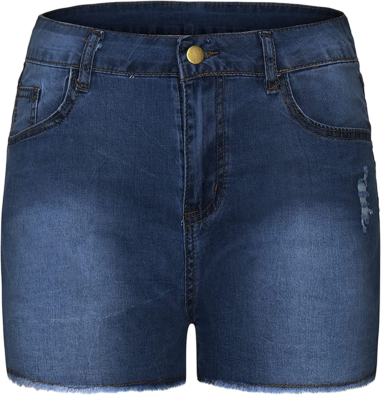 Women's High Waist Denim Shorts Raw Hem Ripped Skinny Stretch Jeans Short Summer Casual Butt Lift Fitted Jean Shorts