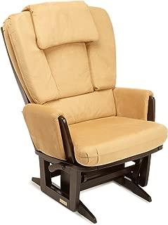 Dutailier Modern 0436 Glider Chair with Built-in Feeding Pillows Espresso/Camel
